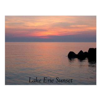 De Zonsondergang van Erie van het meer Briefkaart