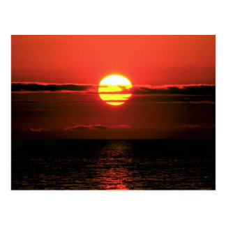 De zonsondergang van Erie van het meer, Upstate Briefkaart