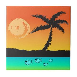 De Zonsondergang van het eiland Keramisch Tegeltje
