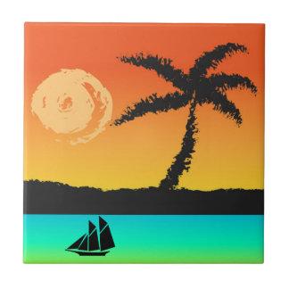 De Zonsondergang van het eiland Tegeltje
