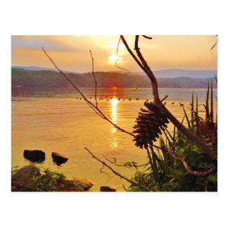 De zonsondergang van het Meer van Pinecone Briefkaart
