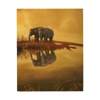De Zonsondergang van olifanten Afdruk Op Hout