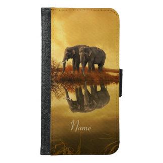 De Zonsondergang van olifanten Samsung Galaxy S6 Portemonnee Hoesje