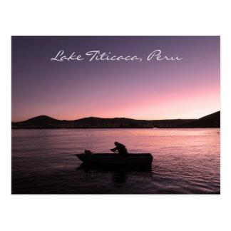 De Zonsondergang van Titicaca van het meer in Peru Briefkaart