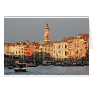De Zonsondergang van Venetië bij de Brug Rialtro Kaart