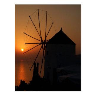 De zonsondergangbriefkaarten van Santorini Briefkaart