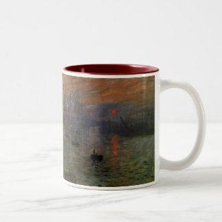 De Zonsopgang van de indruk door Claude Monet, Tweekleurige Koffiemok