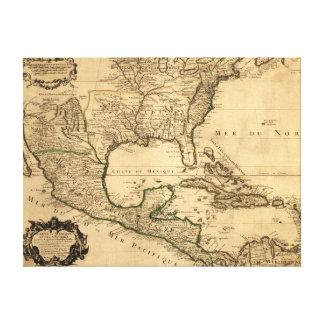 De zuidelijke Kaart van Verenigde Staten en van Mi Stretched Canvas Afdruk