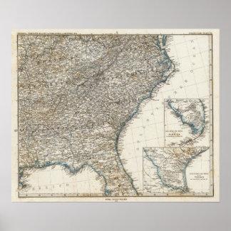 De Zuidelijke Staten van de Verenigde Staten van A Poster