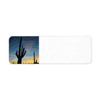 De Zuidwestelijke Zonsondergang van de Cactus van Etiket