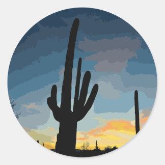 De Zuidwestelijke Zonsondergang van de Cactus van Ronde Sticker