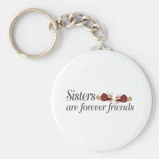 De zusters zijn voor altijd vrienden basic ronde button sleutelhanger