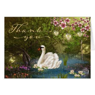 De zwaan op Vijver met Lantaarns dankt u kaardt Kaart