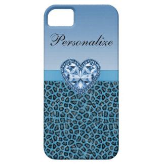 De zwart & Blauw Druk van de Luipaard & Hart Bling Barely There iPhone 5 Hoesje