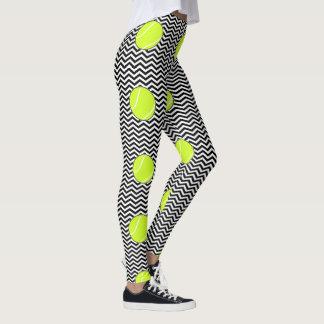 De zwart-witte Beenkappen van de Zigzag van de Bal Leggings
