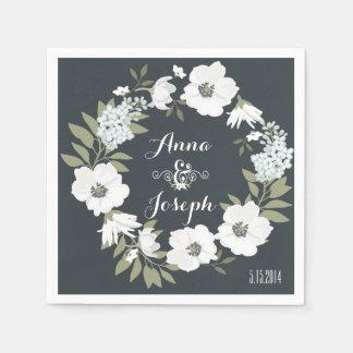 De zwart-witte BloemenServetten van het Huwelijk Papieren Servetten