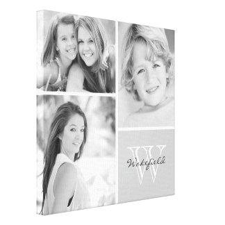 De zwart-witte Collage van de Foto van het Monogra Gallerij Wrapped Canvas