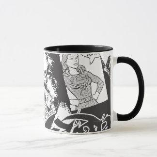 De Zwart-witte Collage van Supergirl Mok