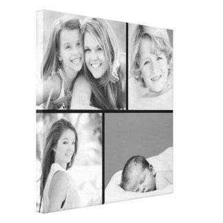 De zwart-witte Druk van het Canvas van de Collage Gallerij Wrap Canvas