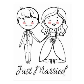 De zwart-witte enkel Gehuwde Bruid & de Bruidegom Briefkaart