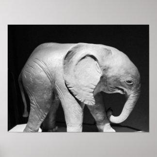 De zwart-witte Foto van de Olifant Poster