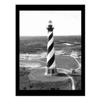 De zwart-witte foto van de Vuurtoren van Hatteras Briefkaart