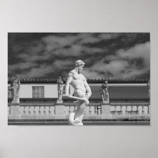 De zwart-witte Fotografie van het Standbeeld Poster