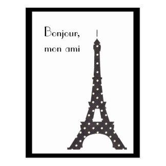 De zwart-witte Franse Toren van Eiffel van Stippen Briefkaart