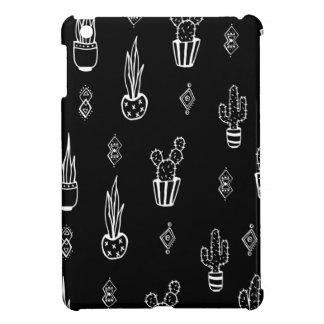 De Zwart-witte Getrokken Hand van de Cactus van Hoesjes Voor iPad Mini