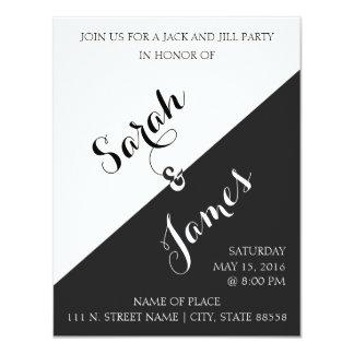 De zwart-witte Hefboom & Jill Party Invite van   10,8x13,9 Uitnodiging Kaart
