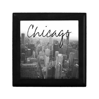 De zwart-witte Horizon van Chicago Decoratiedoosje
