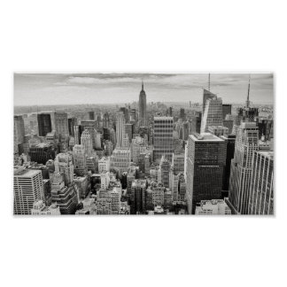 De zwart-witte Horizon van New York Poster