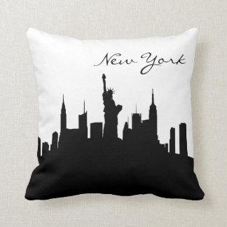 De zwart-witte Horizon van New York Sierkussen