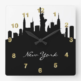 De zwart-witte Horizon van New York Vierkante Klok