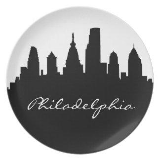 De zwart-witte Horizon van Philadelphia Melamine+bord