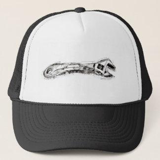 De zwart-witte Moersleutel van de Tekening van het Trucker Pet