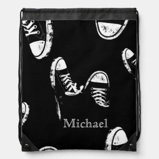 De zwart-witte Retro Schoenen Bookbag van de Trekkoord Rugzakje