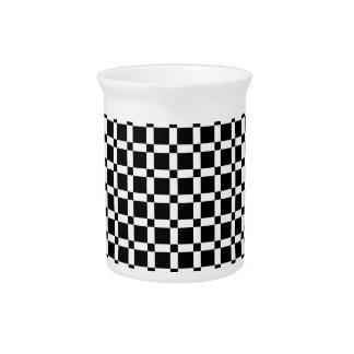 De zwart-witte Vierkante Waterkruik van de Tegel Drink Pitcher