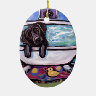 De zwarte badkuip van Labrador Keramisch Ovaal Ornament