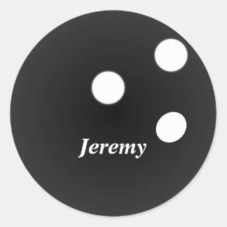 De zwarte Bal van het Kegelen, klantgerichte Ronde Sticker