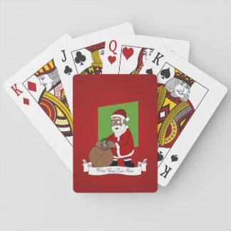 De zwarte Cartoon van de Kerstman Pokerkaarten