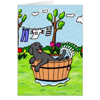 De zwarte Cartoon van de Pool van het Puppy van Wenskaart