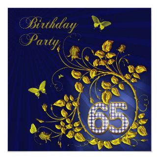 De zwarte en Gouden 65ste partij van de Verjaardag 13,3x13,3 Vierkante Uitnodiging Kaart