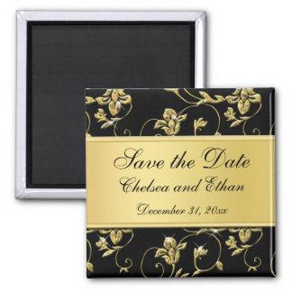 De zwarte en Gouden BloemenMagneet van de Gunst Vierkante Magneet