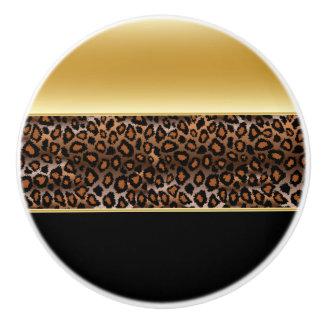 De zwarte en Gouden Dierlijke Druk van de Luipaard Keramische Knop