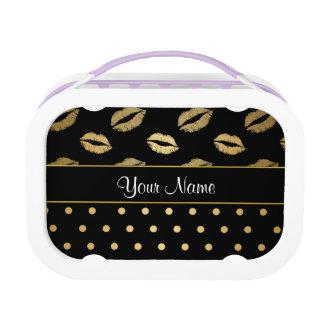 De zwarte en Gouden Kussen en Harten van de Liefde Lunchbox