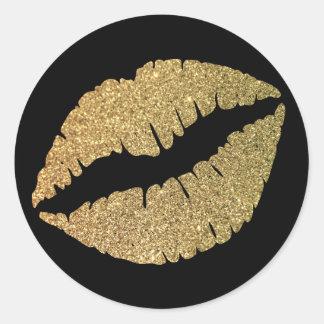 De zwarte en het Goud schitteren Lippen Ronde Stickers