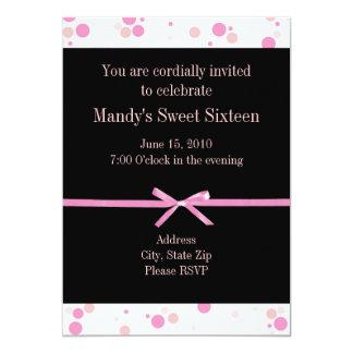 De zwarte en Roze Zoete Zestien Uitnodigingen van