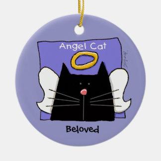 De zwarte Engel van de Kat personaliseert Rond Keramisch Ornament