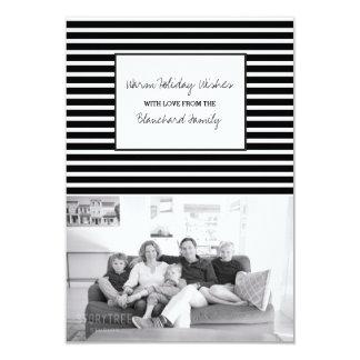De zwarte Feestelijke Foto van de Vakantie van 8,9x12,7 Uitnodiging Kaart